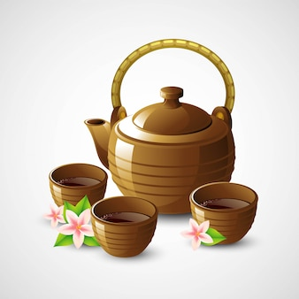 Teapot and cups.  illustration
