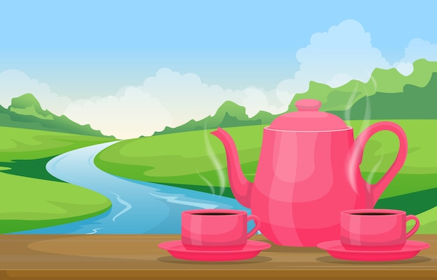 Teapot cups of tea on table outdoor nature landscape river view illustration