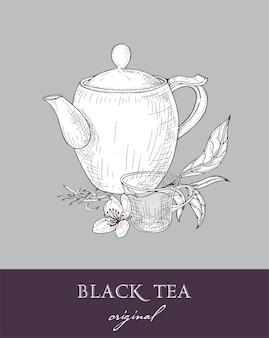 Чайник, стеклянная чашка и оригинальные листья черного чая и цветы, нарисованные от руки контурными линиями