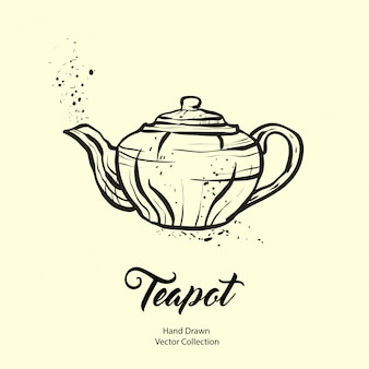Teapot hand drawn ink illustration in old style.