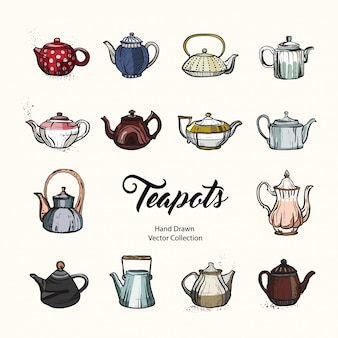 Teapot hand drawn ink illustration set old style.