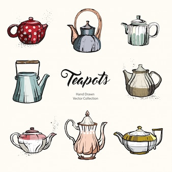 Teapot hand drawn ink vector illustration set old style.