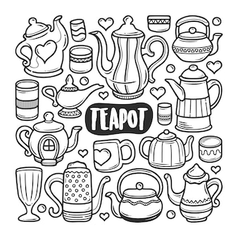 Teapot icons hand drawn doodle coloring
