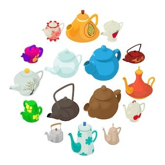 Teapot icons set, isometric style.