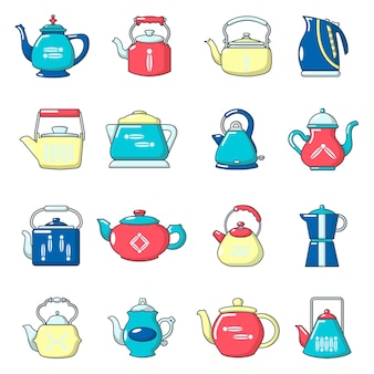 Teapot icons set