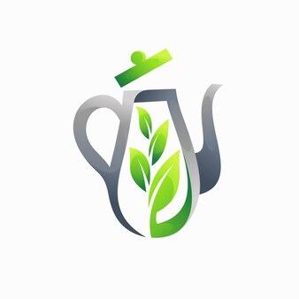 葉の概念を持つティーポットのロゴ