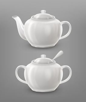 Teapot and sugar bowl white color