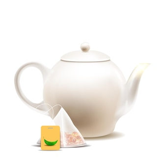 Teapot and tea bag for prepare hot drink vector
