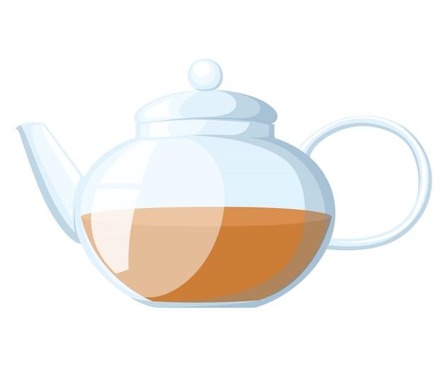 주전자 차 컵 그림 흰색으로 격리