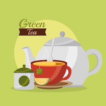 Teapot tea cup and sugar cream lemon tea time