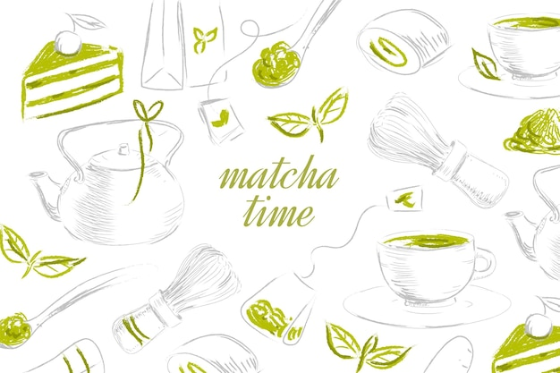 Teapot and teabags of matcha tea background