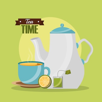 Teapot and teacup lemon and teabag tea time