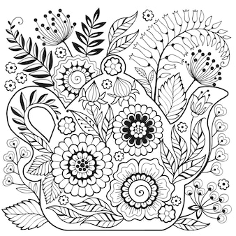 Teapot and wild flower doodle illustration for coloring book