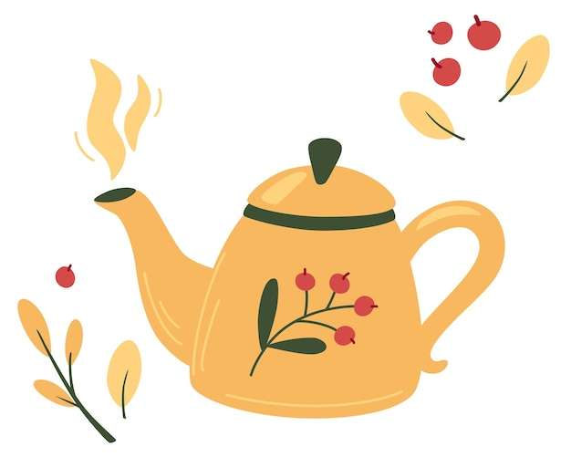 Чайник с чаем и ягодами. чайник кружка время чая и травы, фрукты, ингредиенты для напитков. осеннее настроение, горячий чай и ягоды. чайник чайник с ягодами и витаминами. уютная векторная иллюстрация.