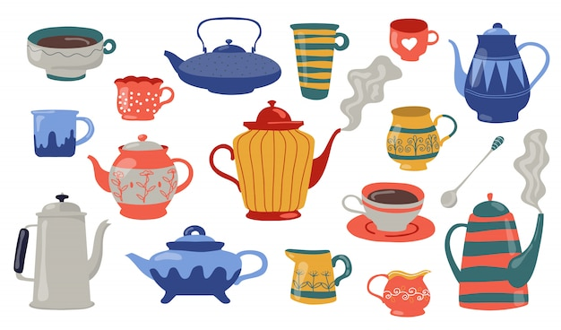 Teapots and cups flat icon set
