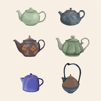 Teapots set hand drawn