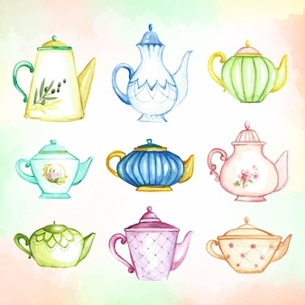 Teapots watercolor collection