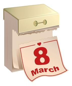Tear-off calendar 8 of march. international womens day. english text