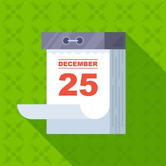 크리스마스 날짜가 있는 떼어낸 달력입니다. 12월 25일은 휴무입니다. 평면 벡터 일러스트 레이 션.