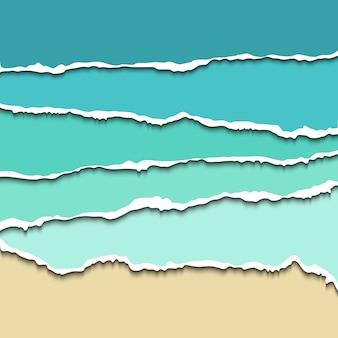 Webサイト、リアルなイラストのためのティアード紙の仕切り。紙の仕切り用の破れたエッジを持つ青い涙紙
