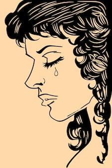悲しみの涙が美しい少女の目から流れた白黒ベクトルアート