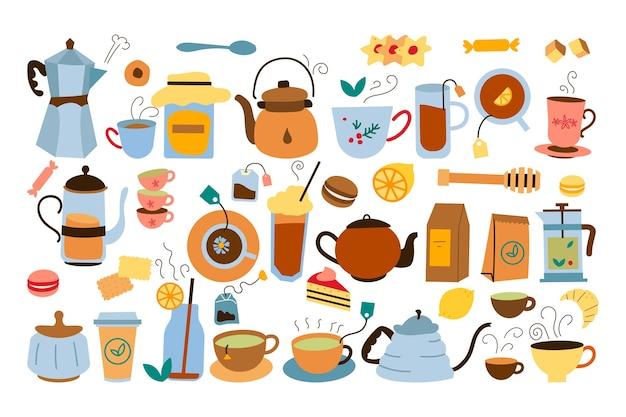 Набор каракули чаепития, изолированные на белом фоне