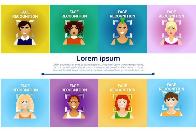 Набор иконок распознавания лиц, биометрическое сканирование мужчин и женщин пользователей современной идентификации tec