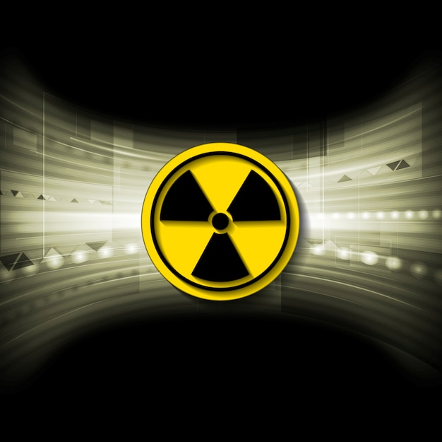 Tech background with radioactive symbol Premium Vector