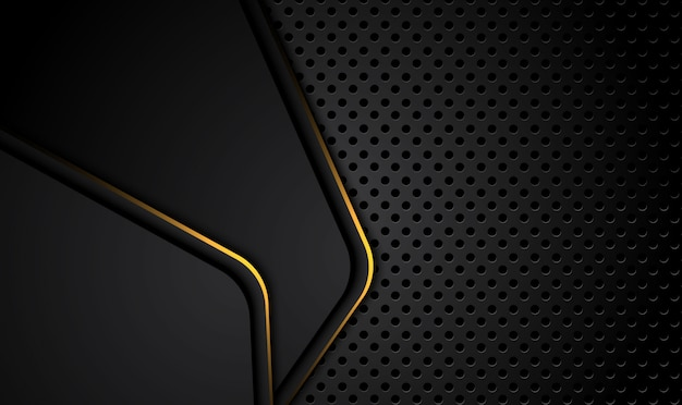 Tech black background with contrast golden stripes. abstract