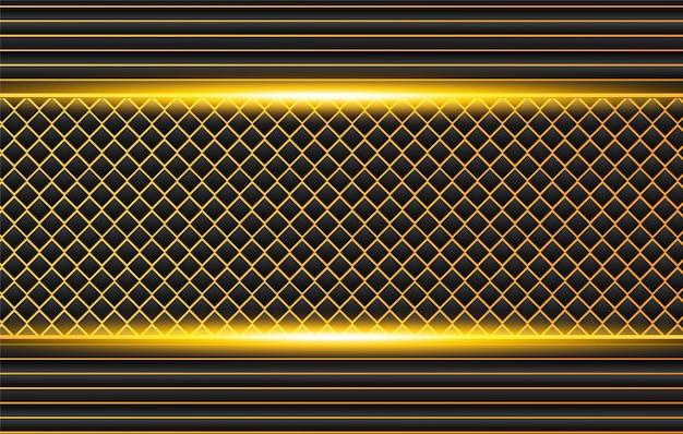 コントラストオレンジイエローストライプとハイテク黒背景。抽象的なベクトルグラフィックパンフレットデザイン