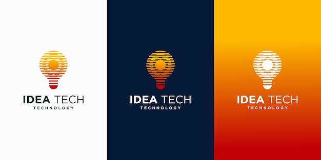 Tech bulb inspiration for technology logo templates