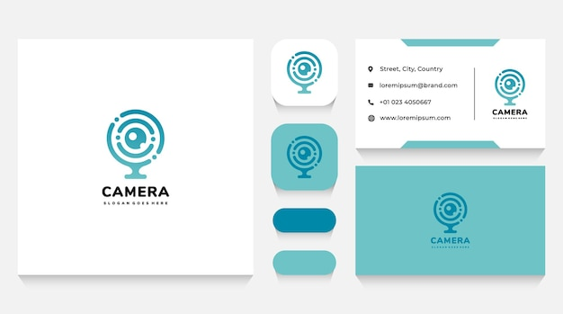 Шаблон логотипа tech camera и визитная карточка