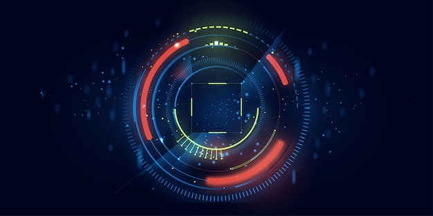 Tech circle and technology background
