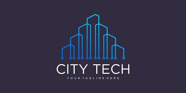 기술 도시 로고 심볼 템플릿