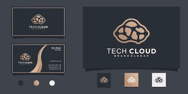 현대적이고 멋진 라인 아트 스타일과 명함 디자인 프리미엄 벡터를 사용한 기술 클라우드 로고 디자인