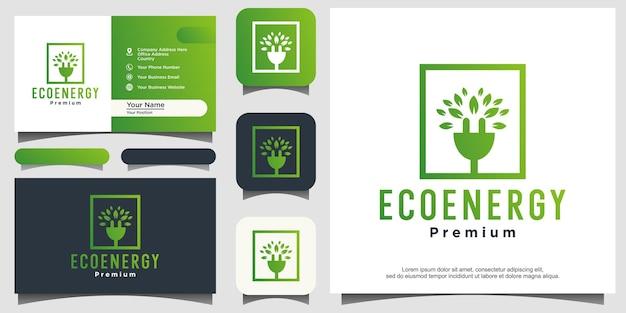 葉のロゴデザインベクトルと技術エネルギープラグ