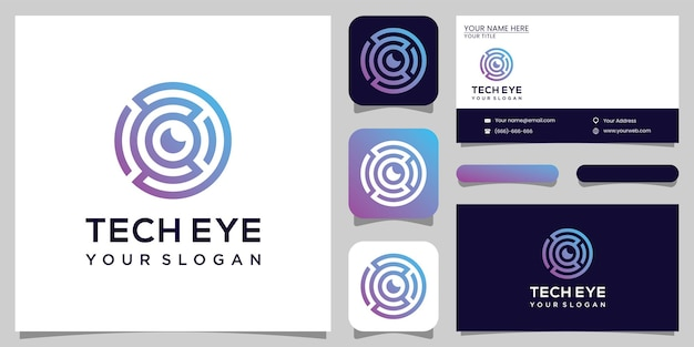 Tech eye logo design technology and business car design premium vektor