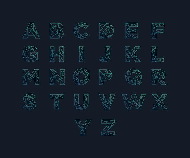 Дизайн шрифта технического шрифта для технических разработок цифровые игры, научная фантастика и научные дисциплины