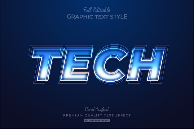 Tech futuristic editable text effect