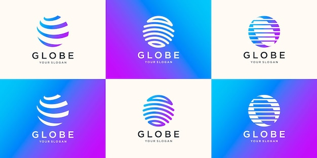 글로벌 기술 산업의 국제 비즈니스를위한 tech globe 로고 디자인