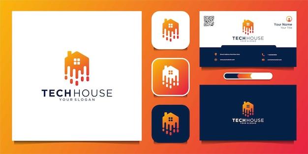 Tech home art style abstrack логотип и визитка premium векторы
