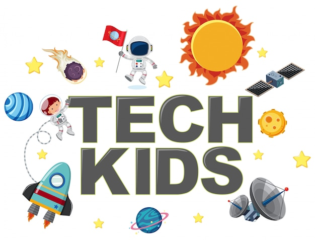 Tech kids icon with element