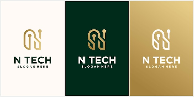 Tech logo initial letter n logo design with color combination