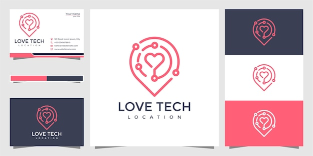 Tech love pin logo and business card