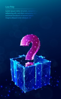 Тек низкий поли синий фон. с подарочной коробкой и знаком вопроса.