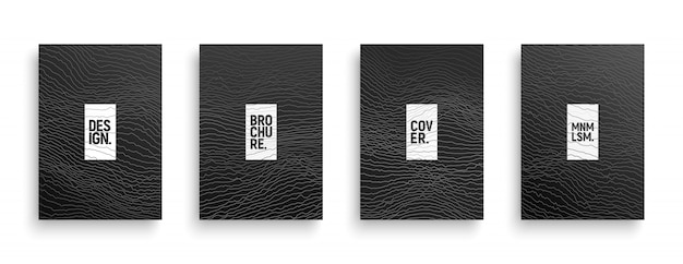 Tech minimalist style brochure covers set