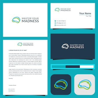 Tech mouse cursor and business card premium vector