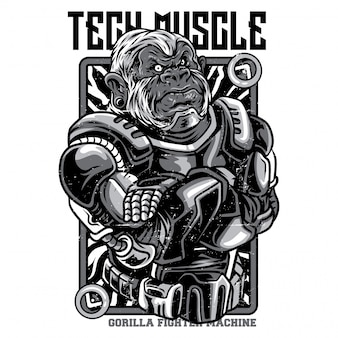 Tech muscle black and white illustration