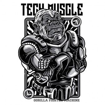 Tech muscle черно-белая иллюстрация