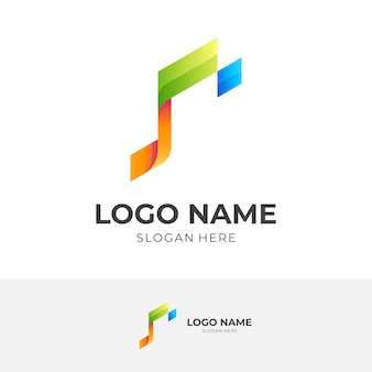 Tech note logo, note and pixel, combination logo with 3d colorful style